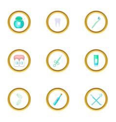 dental equipment icons set cartoon style vector image