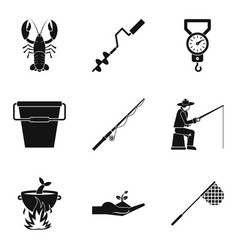 food in open air icons set simple style vector image