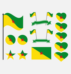 French guiana flag set symbols flag in heart vector