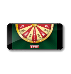 Gold realistic wheel of fortune with smartphone vector
