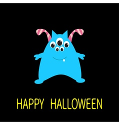 Happy Halloween greeting card Blue monster with vector image