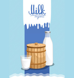 Healthy farm food banner with dairy products vector