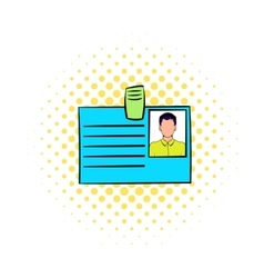Identification card icon in comics style vector image vector image