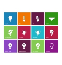 Light bulb and CFL lamp icons on color background vector image