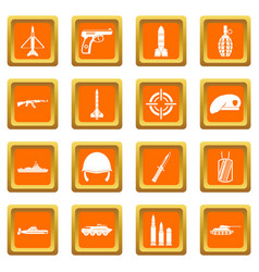 Military icons set orange vector