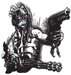 Monster creature with the guns - freehand vector