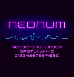 neon light alphabet realistic extra glowing vector image