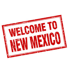 New mexico red square grunge welcome isolated vector