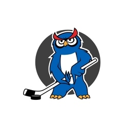 Owl ice hockey player with stick vector image