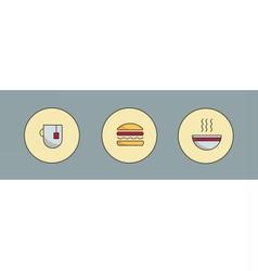 Tea hamburger and soup vector image