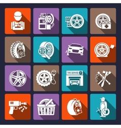 Tire service icon white vector image vector image