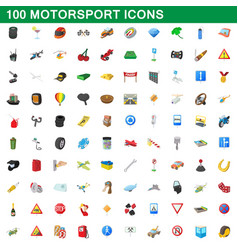 100 motorsport icons set cartoon style vector