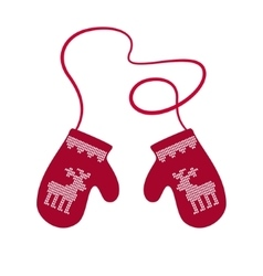 Red winter warm mittens vector