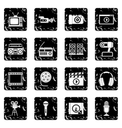 Audio and video set icons grunge style vector