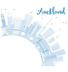 Outline Auckland Skyline with Blue Buildings vector image