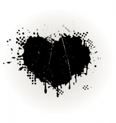 Heart shaped grungy ink splat vector