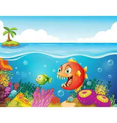 A sea with colorful coral reefs and fishes vector image