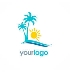 palm tree beach sunny logo vector image