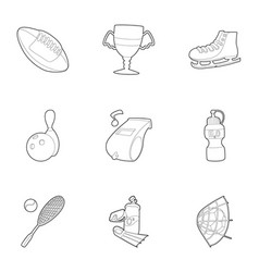 gym icons set outline style vector image