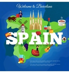 Spain travel flat symbols composition poster vector