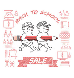 Back to school sale cute bears pencil vector