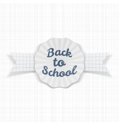 Back to school sale label with ribbon and shadow vector