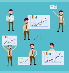 business concept with men holding diagram posters vector image