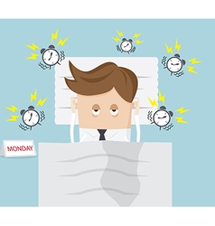 Businessman lazy in bed on monday morning vector
