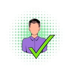 Businessman with a green tick icon comics style vector image