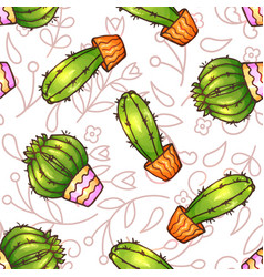 Cactus and succulents seamless pattern vector
