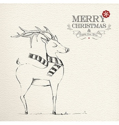 Christmas hand drawn unique reindeer vector
