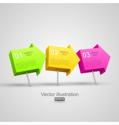 Colorful arrow pushpins 3d vector