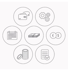 Currency exchange cash money and coins icons vector