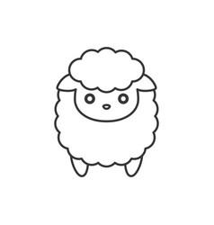 cute cartoon sheep line icon vector image vector image