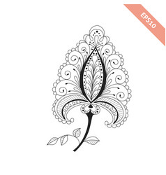 Decorative hand drawn flower doodle style vector