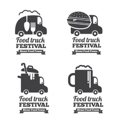 food truck logos emblems and badges vector image vector image