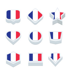 France flags icons and button set nine styles vector