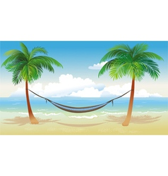 Hammock and palm trees on beach vector