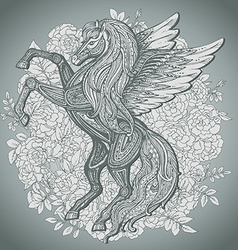 Hand drawn pegasus mythological winged horse on vector