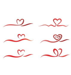 heart set ribbons vector image vector image