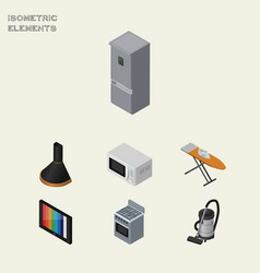 isometric device set of air extractor stove vector image vector image