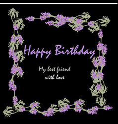 label with lavender bunch of lavender flowers vector image vector image