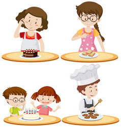 people and different food on tables vector image vector image