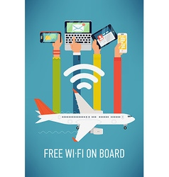 Plane wifi poster vector