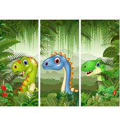 set of three cartoon dinosaurs vector image