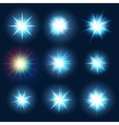 Set various forms of blue burst sparks eps 10 vector