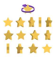 Sheet of sprites rotation of cartoon yellow star vector