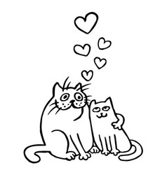 Sweet enamored cats in black and white colors vector