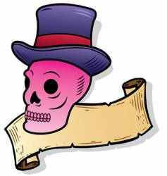 top hat skull vector image