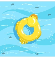 Toy inflatable duck ring with blue sea water on vector